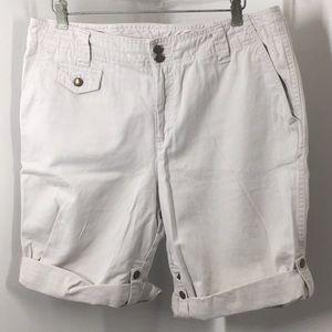 Caribbean Joe tan khaki Bermuda shorts cotton